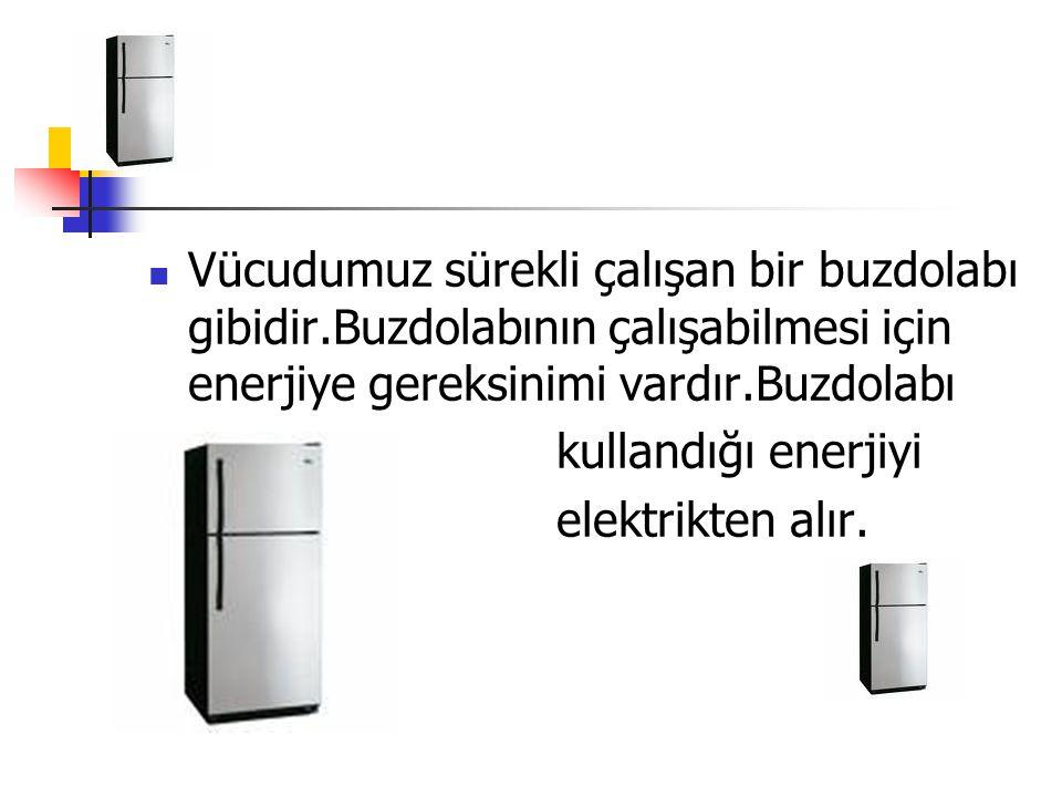  Vücudumuz sürekli çalışan bir buzdolabı gibidir.Buzdolabının çalışabilmesi için enerjiye gereksinimi vardır.Buzdolabı  kullandığı enerjiyi  elektr