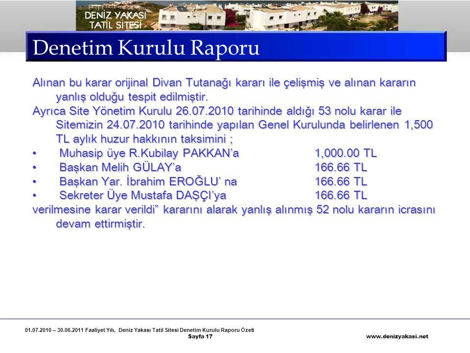01.07.2010 – 30.06.2011 Faaliyet Yılı, Deniz Yakası Tatil Sitesi Denetim Kurulu Raporu Özeti Sayfa 17 www.denizyakasi.net Denetim Kurulu Raporu Alınan