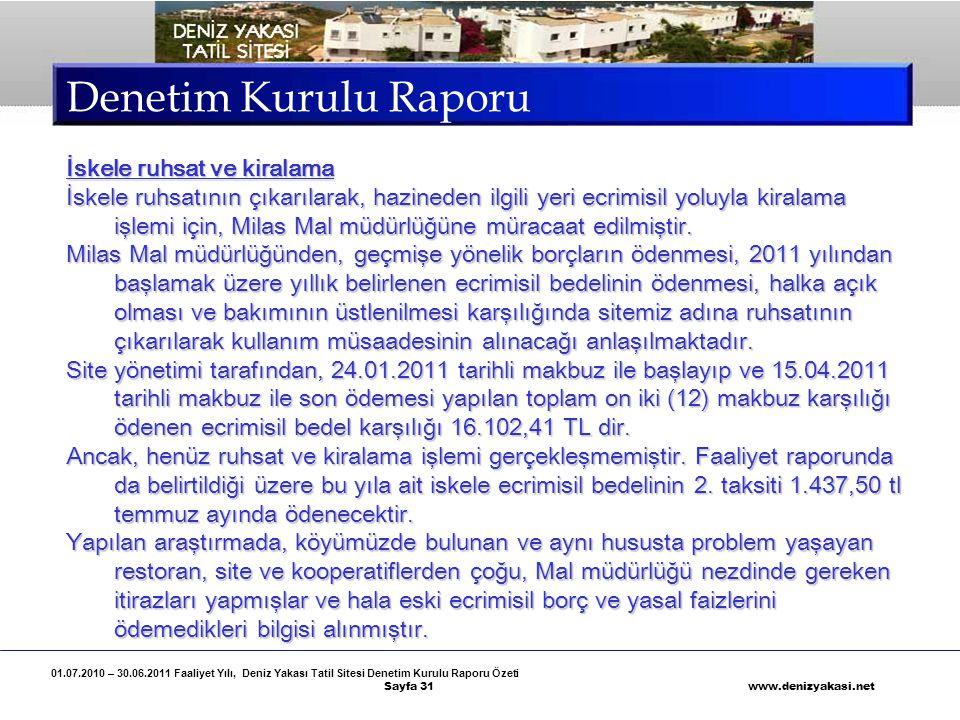 01.07.2010 – 30.06.2011 Faaliyet Yılı, Deniz Yakası Tatil Sitesi Denetim Kurulu Raporu Özeti Sayfa 31 www.denizyakasi.net Denetim Kurulu Raporu İskele