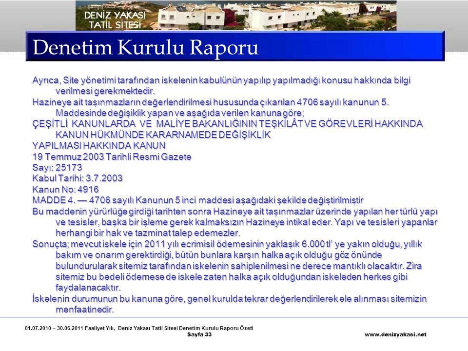 01.07.2010 – 30.06.2011 Faaliyet Yılı, Deniz Yakası Tatil Sitesi Denetim Kurulu Raporu Özeti Sayfa 33 www.denizyakasi.net Denetim Kurulu Raporu Ayrıca