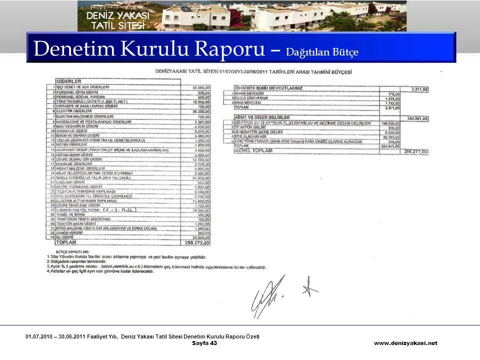 01.07.2010 – 30.06.2011 Faaliyet Yılı, Deniz Yakası Tatil Sitesi Denetim Kurulu Raporu Özeti Sayfa 43 www.denizyakasi.net Denetim Kurulu Raporu – Dağı