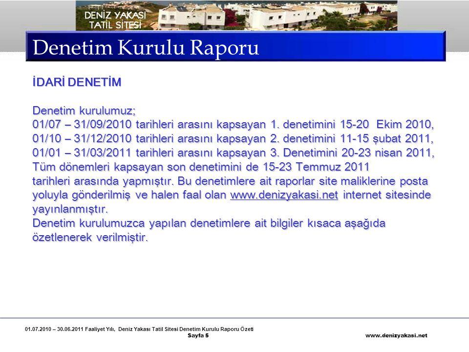 01.07.2010 – 30.06.2011 Faaliyet Yılı, Deniz Yakası Tatil Sitesi Denetim Kurulu Raporu Özeti Sayfa 16 www.denizyakasi.net Denetim Kurulu Raporu Ancak, site maliklerinden birinin açtığı bir davanın bilirkişi raporu sonucuna göre, 30.08.2008 tarihinde 4/5 oranıyla kabul edilen DENİZ YAKASI TATİL SİTESİ YÖNETİM PLANI 'nın kendilerine teslim edilmesine rağmen iki (2) yıldır Tapu Müdürlüğüne verilerek sicile işletilmediği tespit edilmiştir.