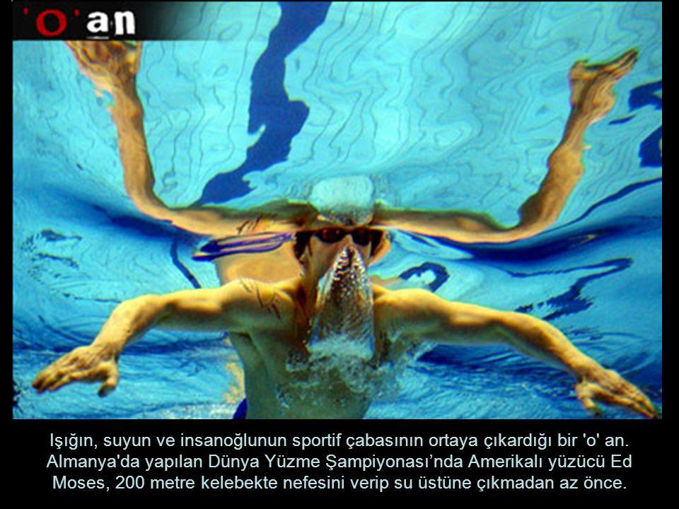 Işığın, suyun ve insanoğlunun sportif çabasının ortaya çıkardığı bir 'o' an. Almanya'da yapılan Dünya Yüzme Şampiyonası'nda Amerikalı yüzücü Ed Moses,