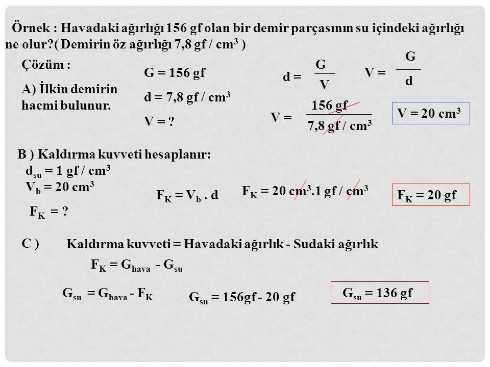 Örnek : Havadaki ağırlığı 156 gf olan bir demir parçasının su içindeki ağırlığı ne olur?( Demirin öz ağırlığı 7,8 gf / cm 3 ) Çözüm : A) İlkin demirin