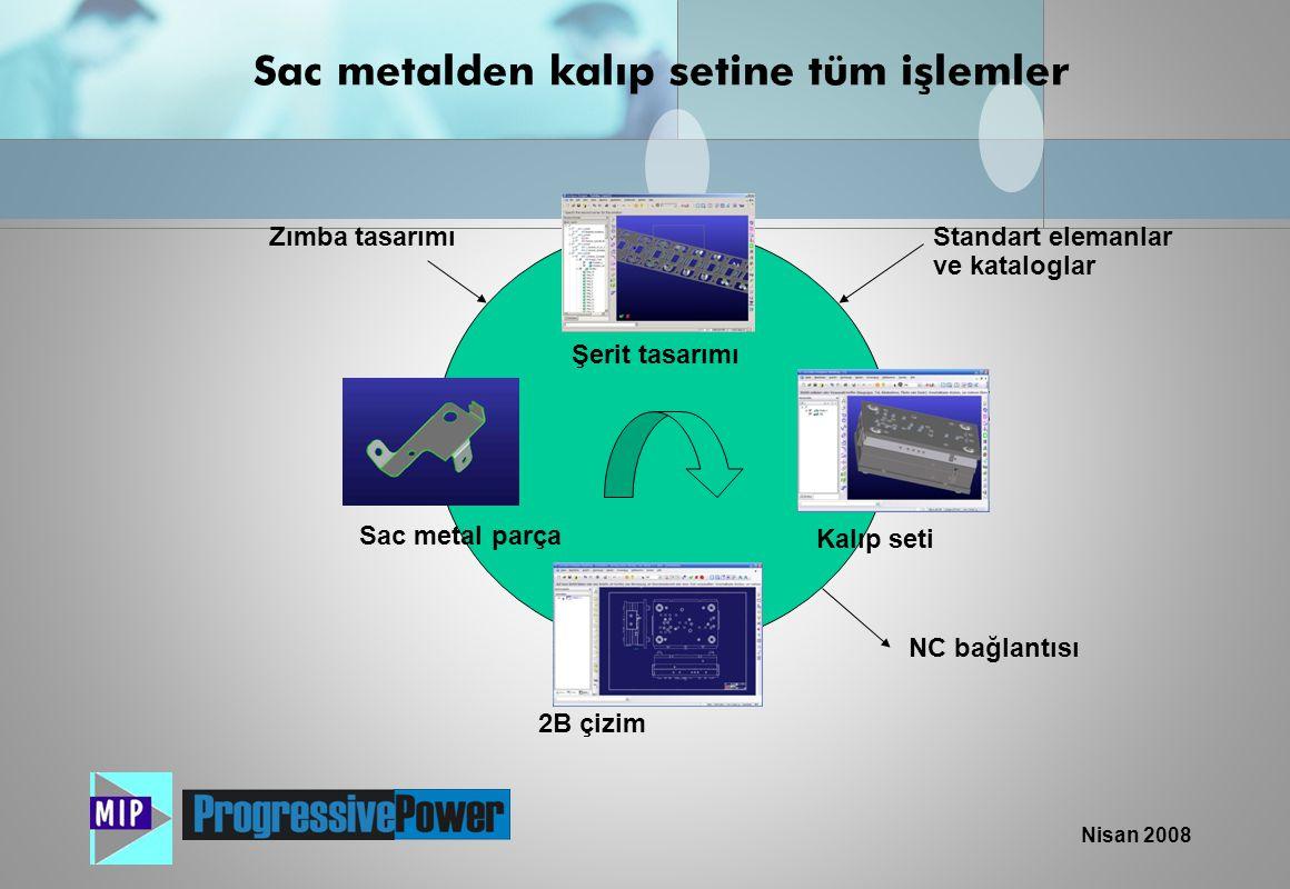 Nisan 2008 Sac metalden kalıp setine tüm işlemler Sac metal parça Şerit tasarımı 2B çizim Kalıp seti NC bağlantısı Standart elemanlar ve kataloglar Zı