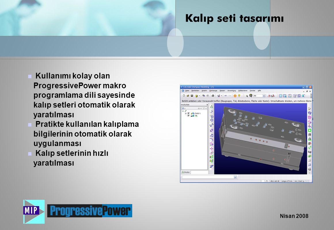 Nisan 2008  Kullanımı kolay olan ProgressivePower makro programlama dili sayesinde kalıp setleri otomatik olarak yaratılması  Pratikte kullanılan ka