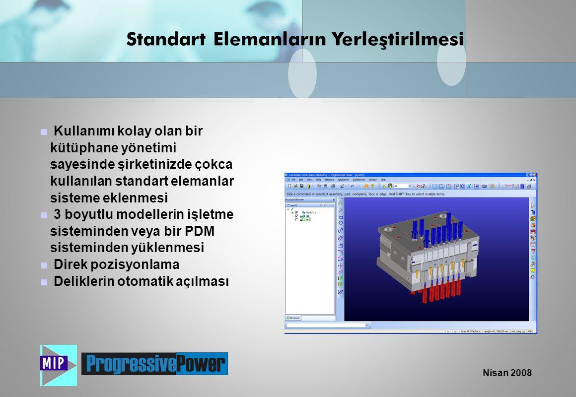 Nisan 2008  Kullanımı kolay olan bir kütüphane yönetimi sayesinde şirketinizde çokca kullanılan standart elemanlar sisteme eklenmesi  3 boyutlu mode