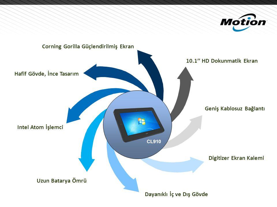 10.1'' HD Dokunmatik Ekran Uzun Batarya Ömrü Hafif Gövde, İnce Tasarım Digitizer Ekran Kalemi Corning Gorilla Güçlendirilmiş Ekran Intel Atom İşlemci Geniş Kablosuz Bağlantı Dayanıklı İç ve Dış Gövde CL910