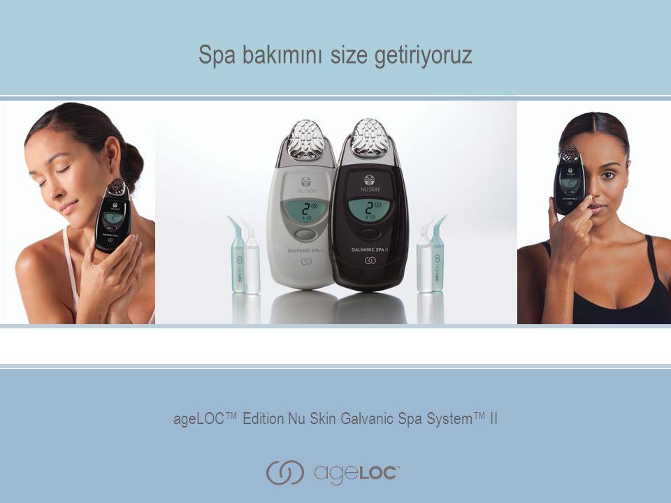 Yüz, saç derisi ve vücut için özel değiştirilebilir iletken başlıkları ile ageLOC™ Edition Nu Skin Galvanic Spa System™ II cihazı evinizin rahatlığında spa bakımının faydalarını yaşamanıza imkan sağlar.