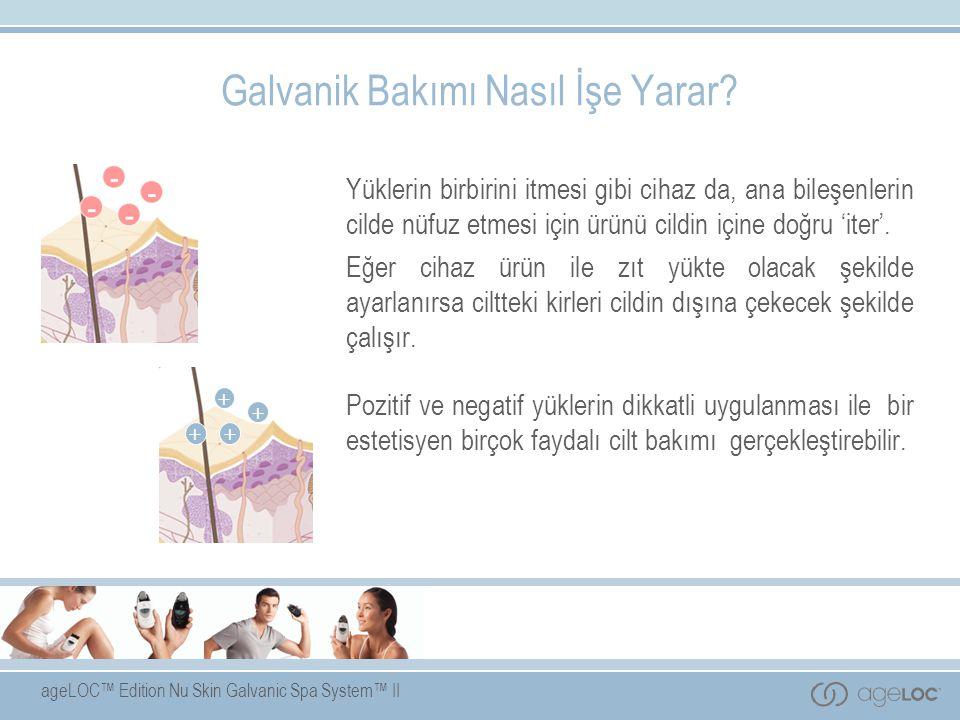 ageLOC™ Edition Nu Skin Galvanic Spa System™ II Galvanik Bakımı Nasıl İşe Yarar? Yüklerin birbirini itmesi gibi cihaz da, ana bileşenlerin cilde nüfuz