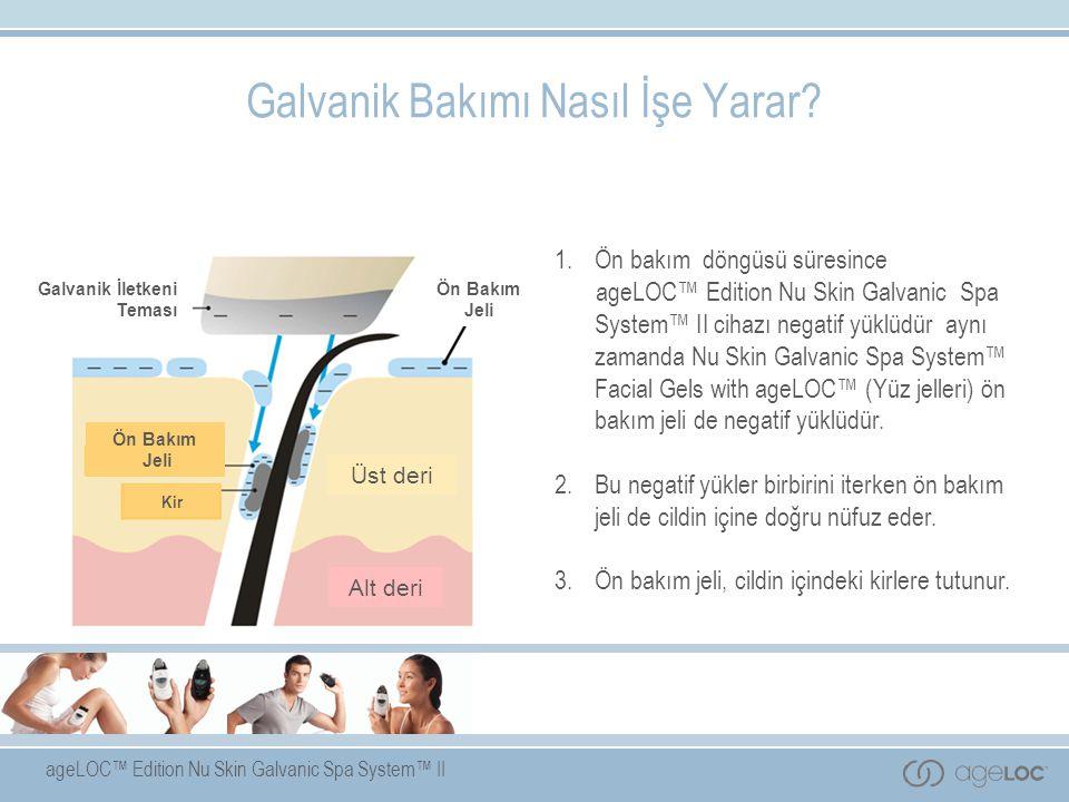 ageLOC™ Edition Nu Skin Galvanic Spa System™ II 1. Ön bakım döngüsü süresince ageLOC™ Edition Nu Skin Galvanic Spa System™ II cihazı negatif yüklüdür