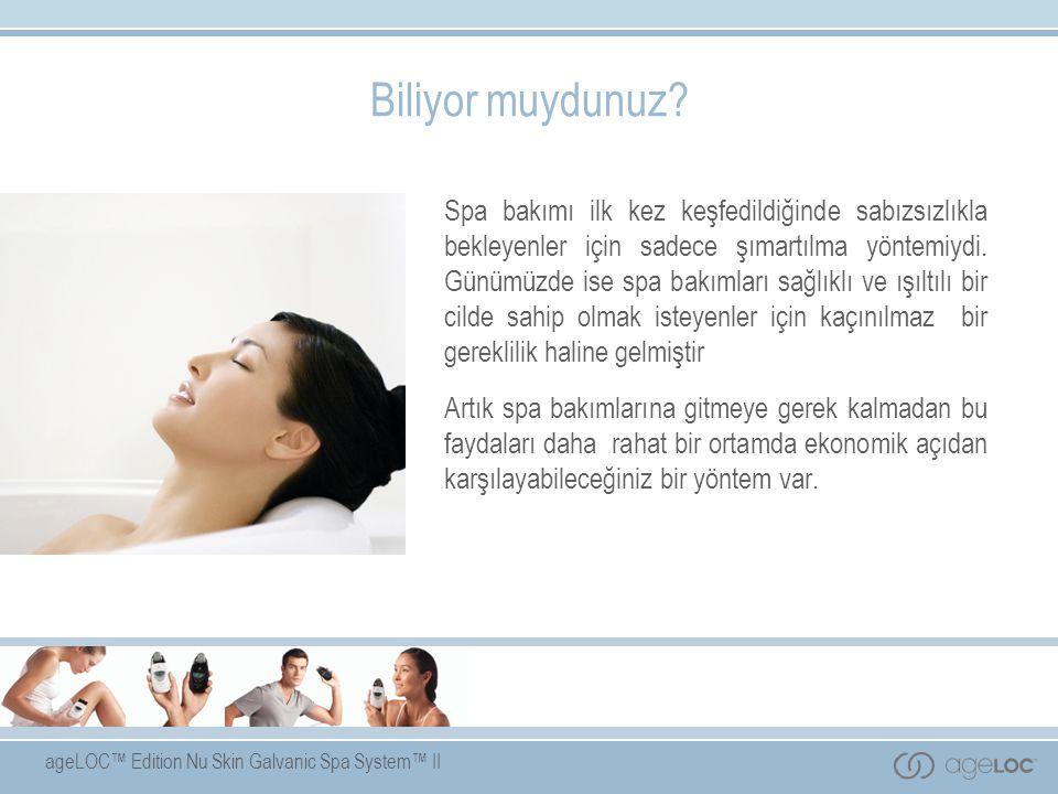 ageLOC™ Edition Nu Skin Galvanic Spa System™ II Amaç Bu sunumu izldikten sonra fikir sahibi olacağınız konular şunlardır:  Galvanik akımların geçmişi ve nasıl çalıştıkları  ageLOC™ Edition Nu Skin Galvanic Spa System™ II cihazının cilde temel bileşenlerin iletilmesini kolaylaştırmasındaki rolü  ageLOC™ Edition Nu Skin Galvanic Spa System™ II tamamlayıcı ürünler  ageLOC™ Edition Nu Skin Galvanic Spa System™ II ile başarılı bir işin nasıl kurulacağı