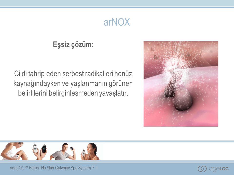 ageLOC™ Edition Nu Skin Galvanic Spa System™ II arNOX Eşsiz çözüm: Cildi tahrip eden serbest radikalleri henüz kaynağındayken ve yaşlanmanın görünen b