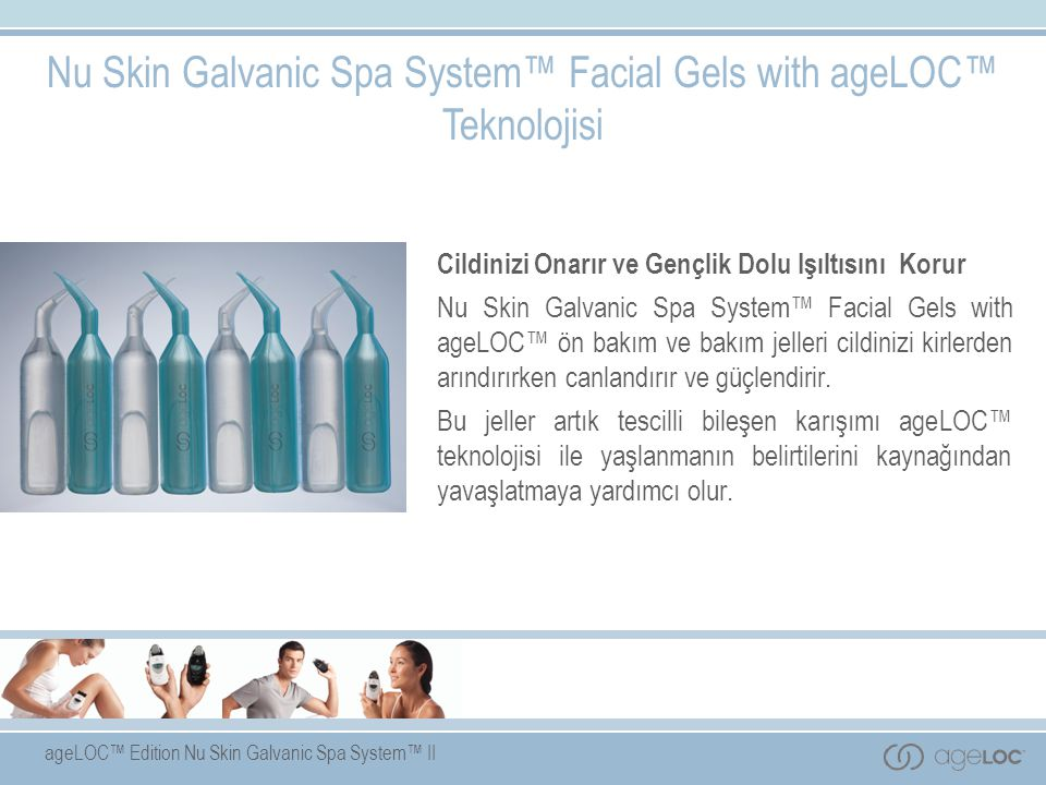 ageLOC™ Edition Nu Skin Galvanic Spa System™ II Nu Skin Galvanic Spa System™ Facial Gels with ageLOC™ Teknolojisi Cildinizi Onarır ve Gençlik Dolu Işı