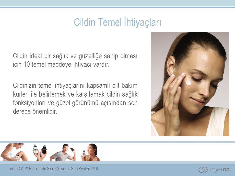 ageLOC™ Edition Nu Skin Galvanic Spa System™ II Cildin Temel İhtiyaçları Cildin ideal bir sağlık ve güzelliğe sahip olması için 10 temel maddeye ihtiyacı vardır.