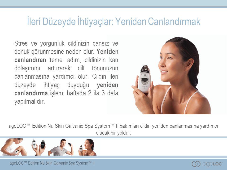 ageLOC™ Edition Nu Skin Galvanic Spa System™ II patentli ve kendiliğinden ayarlanabilen akımlarla yüz, saç derisi ve vücut için değiştirilebilen iletkenlere sahiptir.