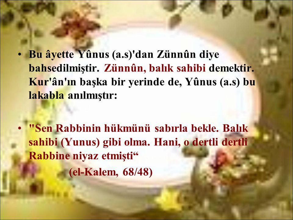 •Bu âyette Yûnus (a.s)'dan Zünnûn diye bahsedilmiştir. Zünnûn, balık sahibi demektir. Kur'ân'ın başka bir yerinde de, Yûnus (a.s) bu lakabla anılmıştı