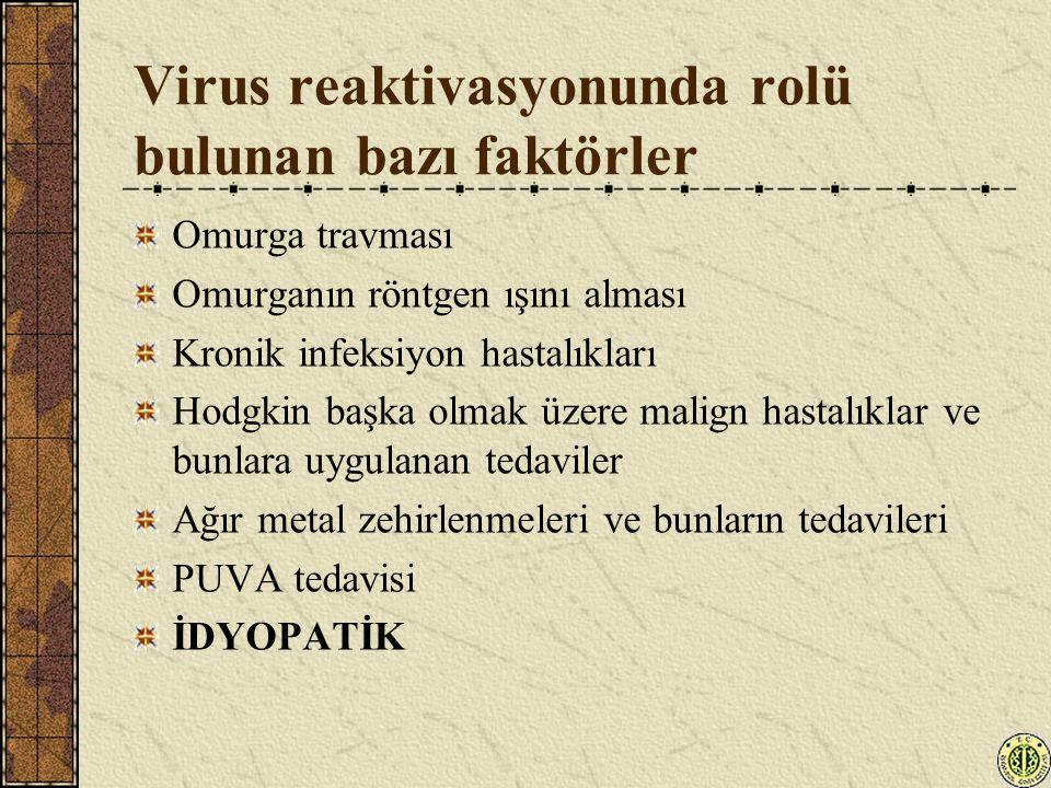 Virus reaktivasyonunda rolü bulunan bazı faktörler Omurga travması Omurganın röntgen ışını alması Kronik infeksiyon hastalıkları Hodgkin başka olmak ü