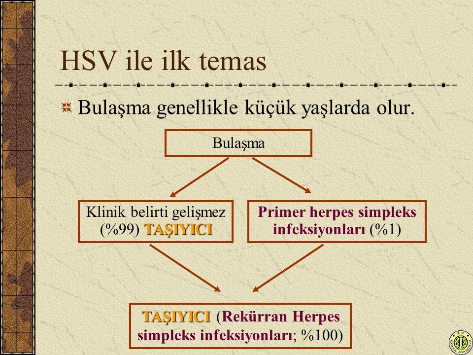 HSV ile ilk temas Bulaşma genellikle küçük yaşlarda olur. Bulaşma TAŞIYICI Klinik belirti gelişmez (%99) TAŞIYICI Primer herpes simpleks infeksiyonlar