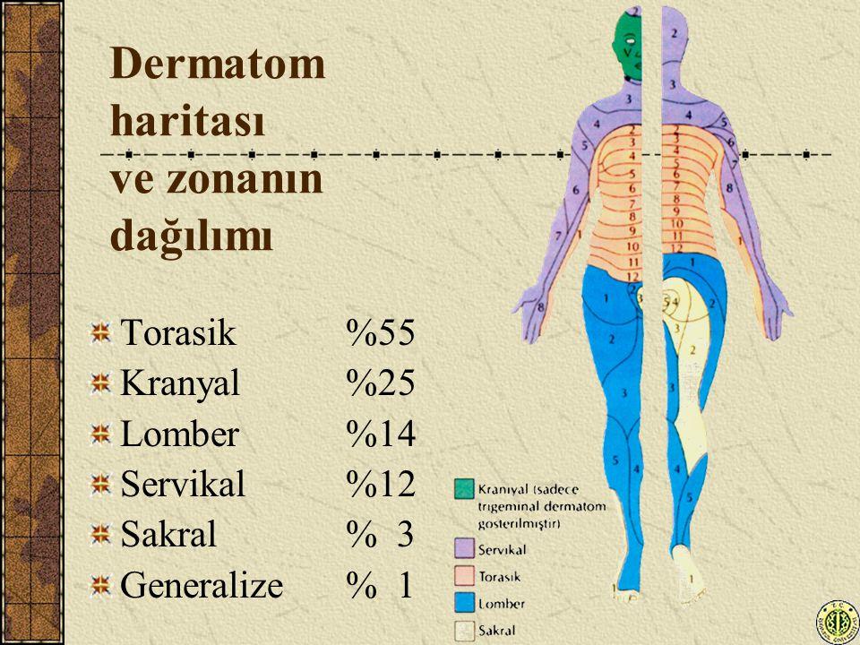 Dermatom haritası ve zonanın dağılımı Torasik %55 Kranyal %25 Lomber %14 Servikal %12 Sakral % 3 Generalize % 1