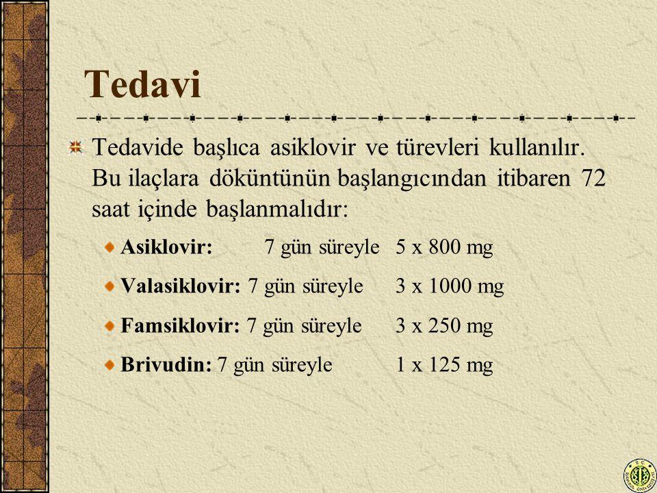 Tedavi Tedavide başlıca asiklovir ve türevleri kullanılır. Bu ilaçlara döküntünün başlangıcından itibaren 72 saat içinde başlanmalıdır: Asiklovir: 7 g