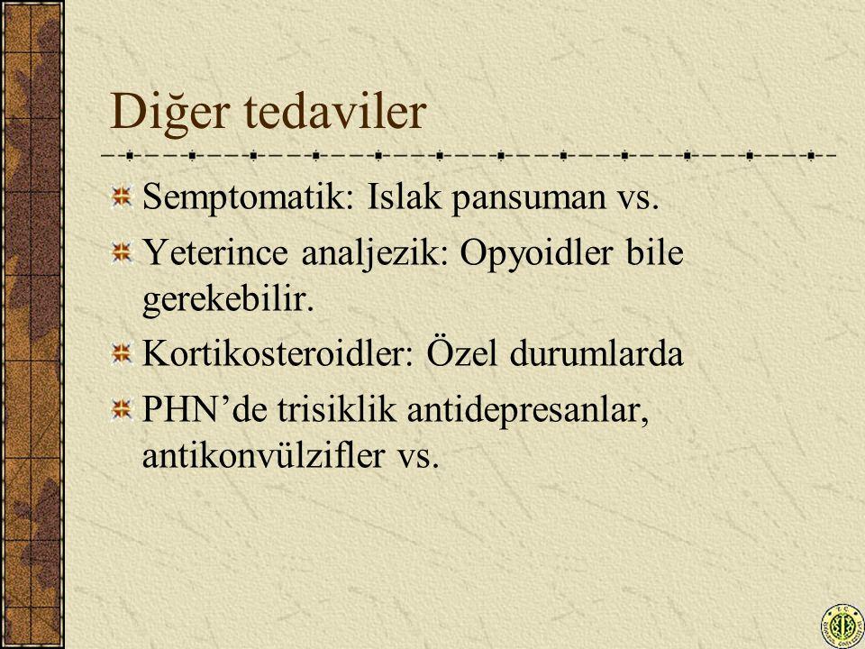 Diğer tedaviler Semptomatik: Islak pansuman vs. Yeterince analjezik: Opyoidler bile gerekebilir. Kortikosteroidler: Özel durumlarda PHN'de trisiklik a
