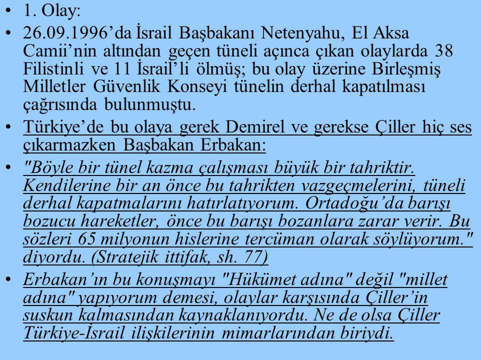 •1•1. Olay: •2•26.09.1996'da İsrail Başbakanı Netenyahu, El Aksa Camii'nin altından geçen tüneli açınca çıkan olaylarda 38 Filistinli ve 11 İsrail'li