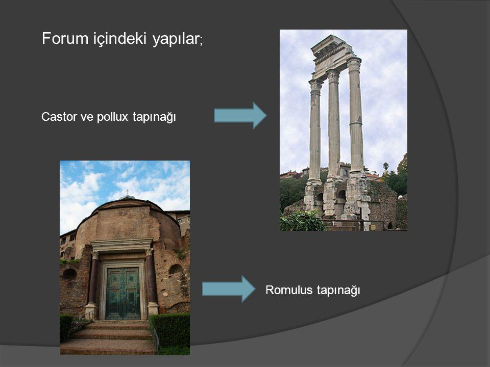 Forum içindeki yapılar ; Castor ve pollux tapınağı Romulus tapınağı