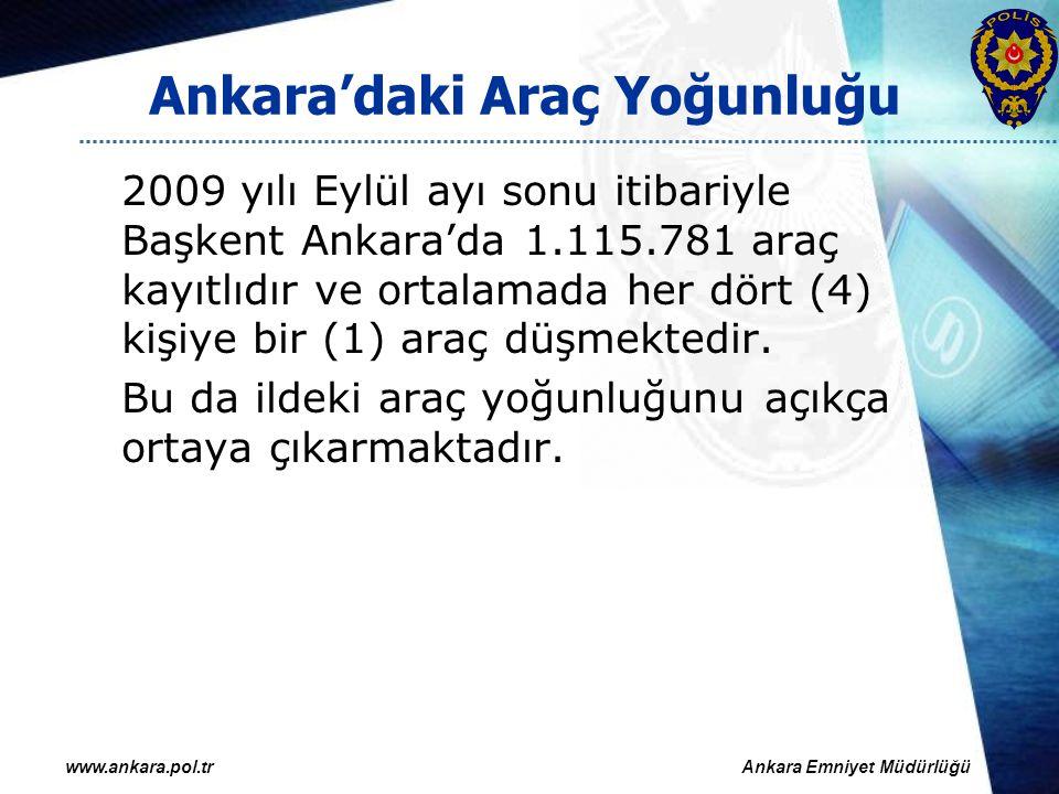 2008 ve 2009 yıllarının ilk dokuz ayında Ankara kent merkezinde meydana gelen trafik kazaları: 20082009YÜZDE Ölümlü kaza sayısı 4234-19,05 Ölü sayısı 5248-7,69 Yaralanmalı kaza sayısı 414444407,14 Yaralı sayısı 598865809,89 Maddi hasarlı kaza sayısı 31.85616.012*-49,74 Toplam kaza sayısı 36.04220.486-43,16 Maddi hasar tutarı 49.974.50735.957.387-28,05 www.ankara.pol.trAnkara Emniyet Müdürlüğü *1 Nisan 2008 tarihinden itibaren maddi hasarla sonuçlanan trafik kazalarında tarafların anlaşarak kaza tespit tutanağı düzenlemeleri etken olmuştur.