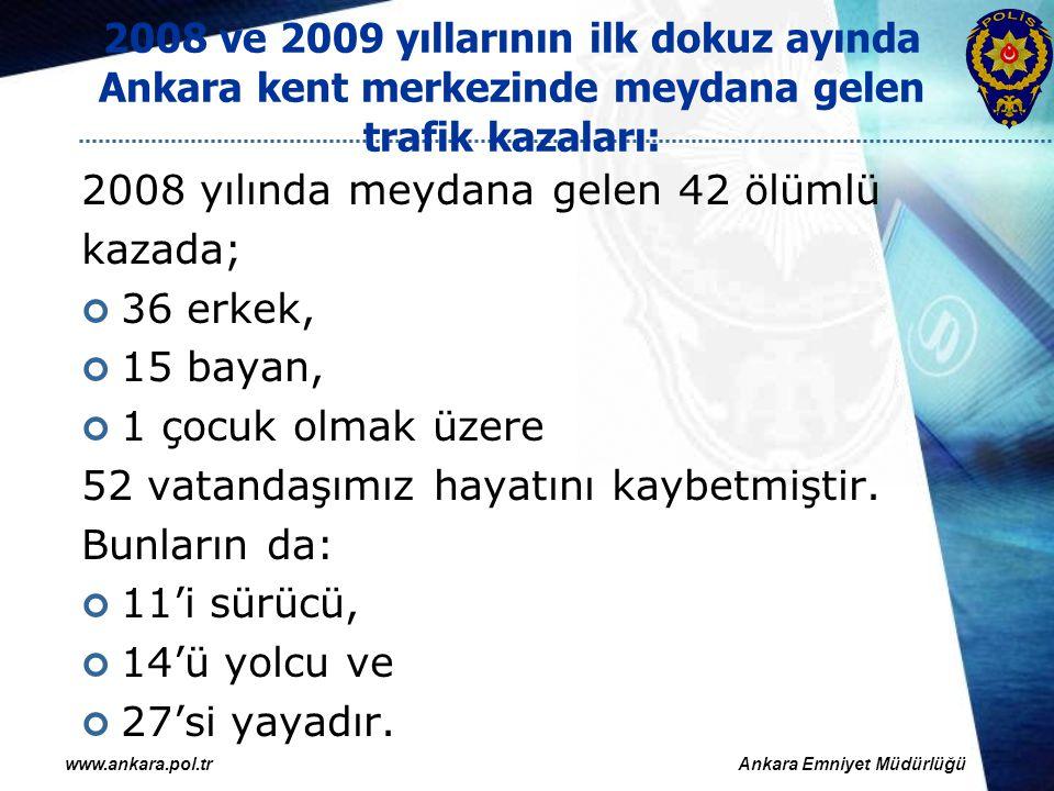 2008 ve 2009 yıllarının ilk dokuz ayında Ankara kent merkezinde meydana gelen trafik kazaları: 2009 yılında meydana gelen 34 ölümlü kazada; 36 erkek, 10 bayan, 2 çocuk olmak üzere 48 vatandaşımız hayatını kaybetmiştir.