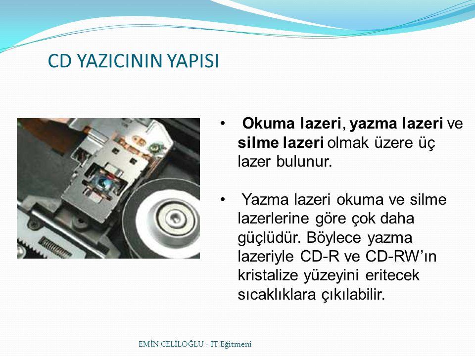 CD YAZICININ YAPISI • Okuma lazeri, yazma lazeri ve silme lazeri olmak üzere üç lazer bulunur.