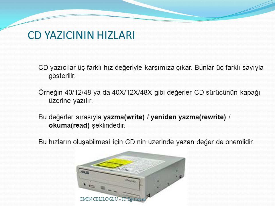 CD YAZICININ HIZLARI CD yazıcılar üç farklı hız değeriyle karşımıza çıkar.
