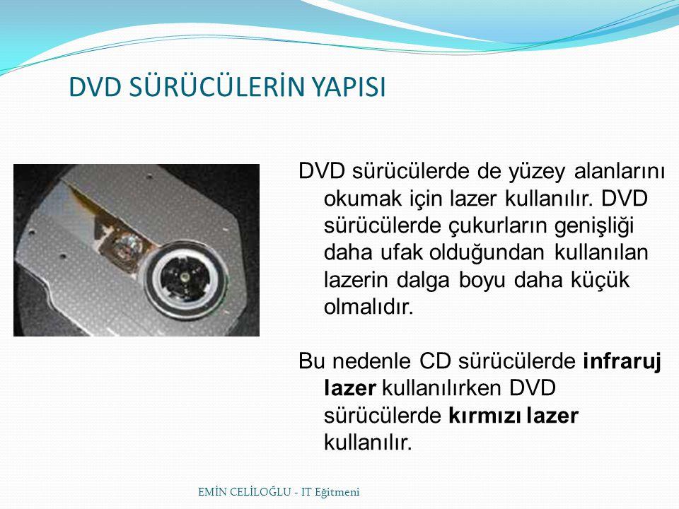 DVD SÜRÜCÜLERİN YAPISI DVD sürücülerde de yüzey alanlarını okumak için lazer kullanılır.