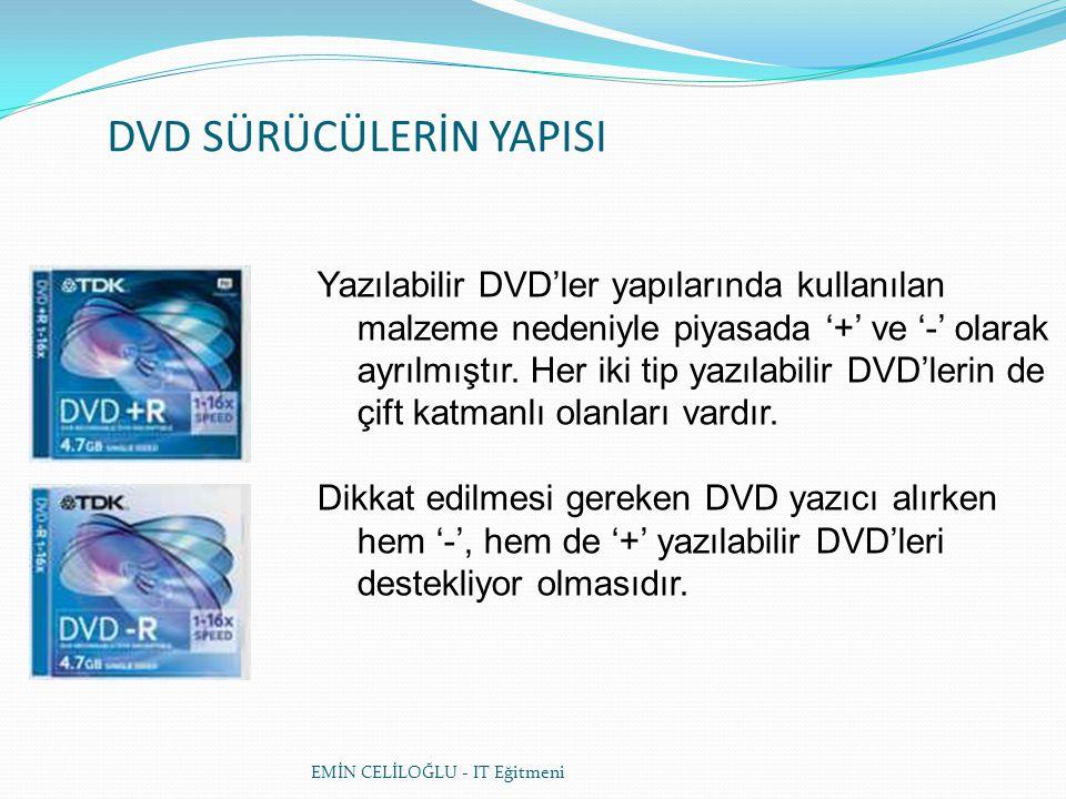 DVD SÜRÜCÜLERİN YAPISI Yazılabilir DVD'ler yapılarında kullanılan malzeme nedeniyle piyasada '+' ve '-' olarak ayrılmıştır.