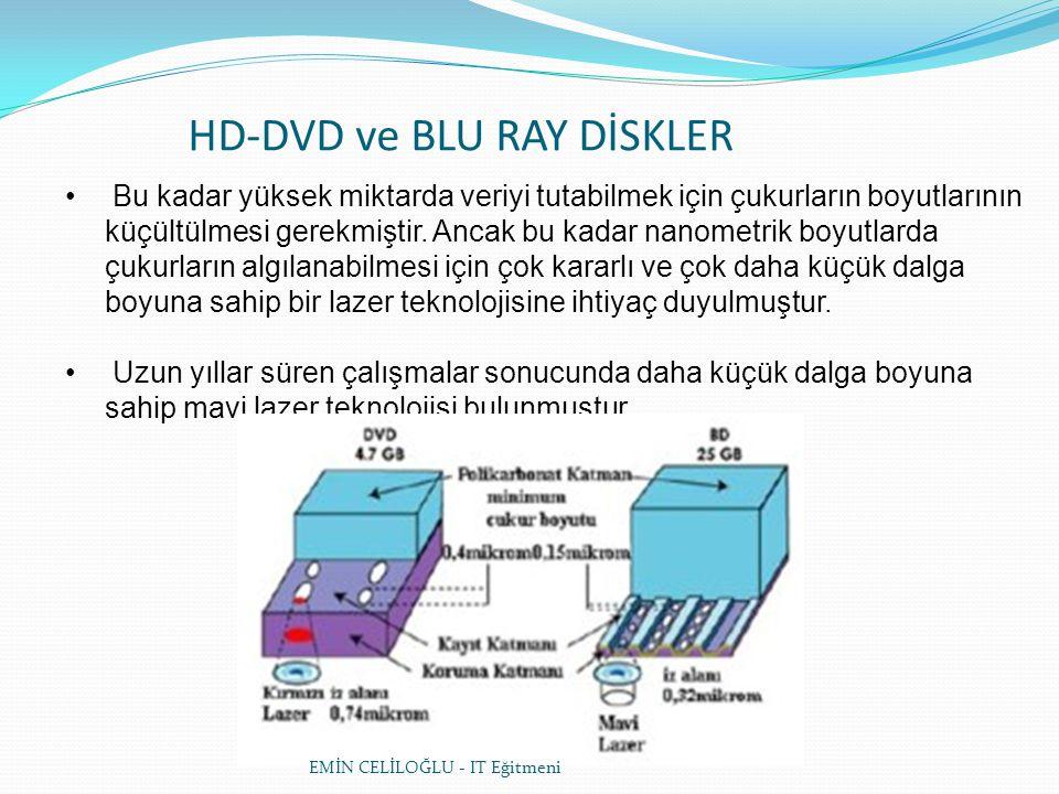 HD-DVD ve BLU RAY DİSKLER • Bu kadar yüksek miktarda veriyi tutabilmek için çukurların boyutlarının küçültülmesi gerekmiştir.