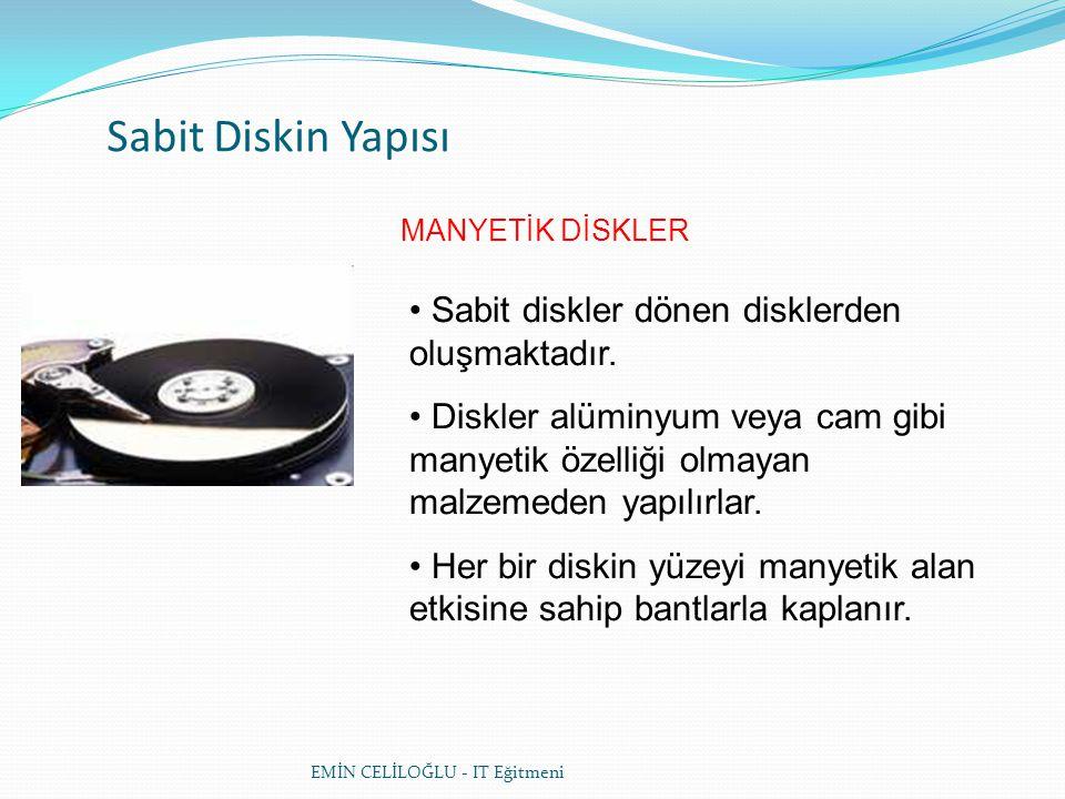 Sabit Diskin Yapısı • Manyetik diskler iz (track) ve dilim (sector) denilen bölümlerden oluşur.