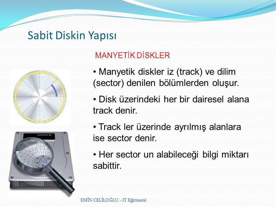 CD (COMPACT DISK) YAPISI • CD'lerin en önemli özelliği manyetik disklerden farklı olarak spiral şeklinde tek bir izden oluşmalarıdır Spiral yapı CD'nin iç kısmından dış kısmına doğru ilerlemektedir.