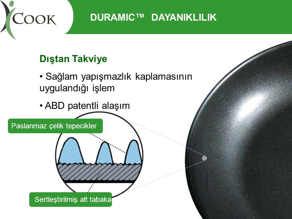 Dıştan Takviye • Sağlam yapışmazlık kaplamasının uygulandığı işlem • ABD patentli alaşım Sertleştirilmiş alt tabaka Paslanmaz çelik tepecikler DURAMIC