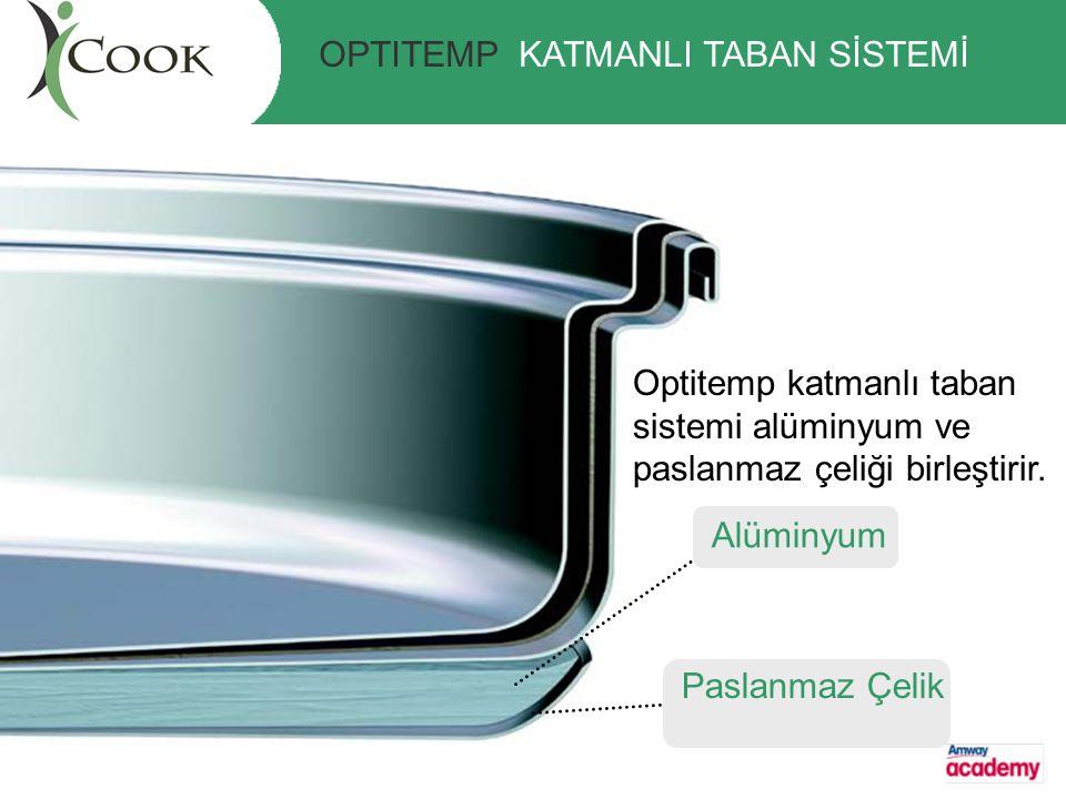 Optitemp katmanlı taban sistemi alüminyum ve paslanmaz çeliği birleştirir. Alüminyum Paslanmaz Çelik OPTITEMP KATMANLI TABAN SİSTEMİ