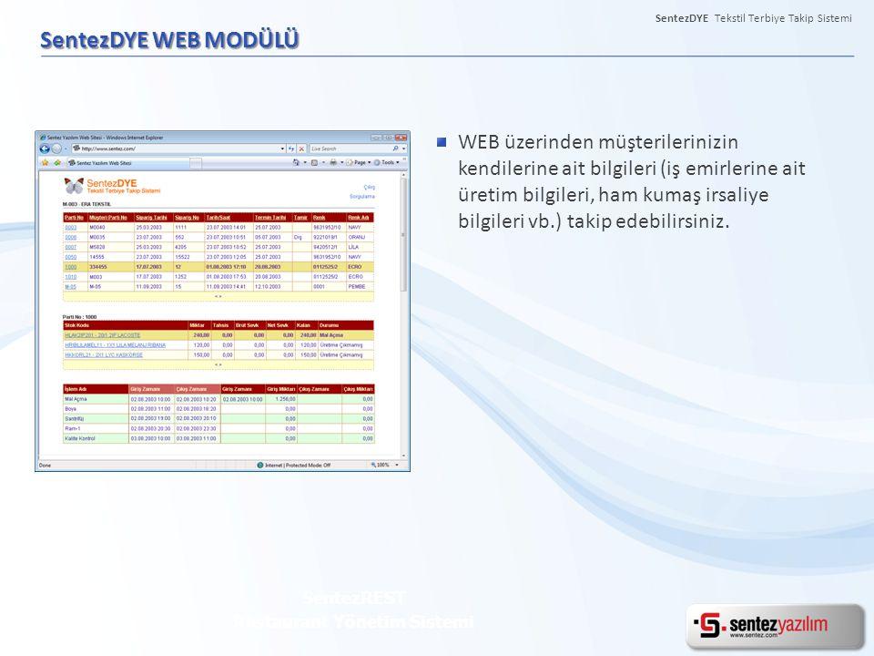 SentezDYE Tekstil Terbiye Takip Sistemi SentezDYE WEB MODÜLÜ SentezREST Restaurant Yönetim Sistemi WEB üzerinden müşterilerinizin kendilerine ait bilg