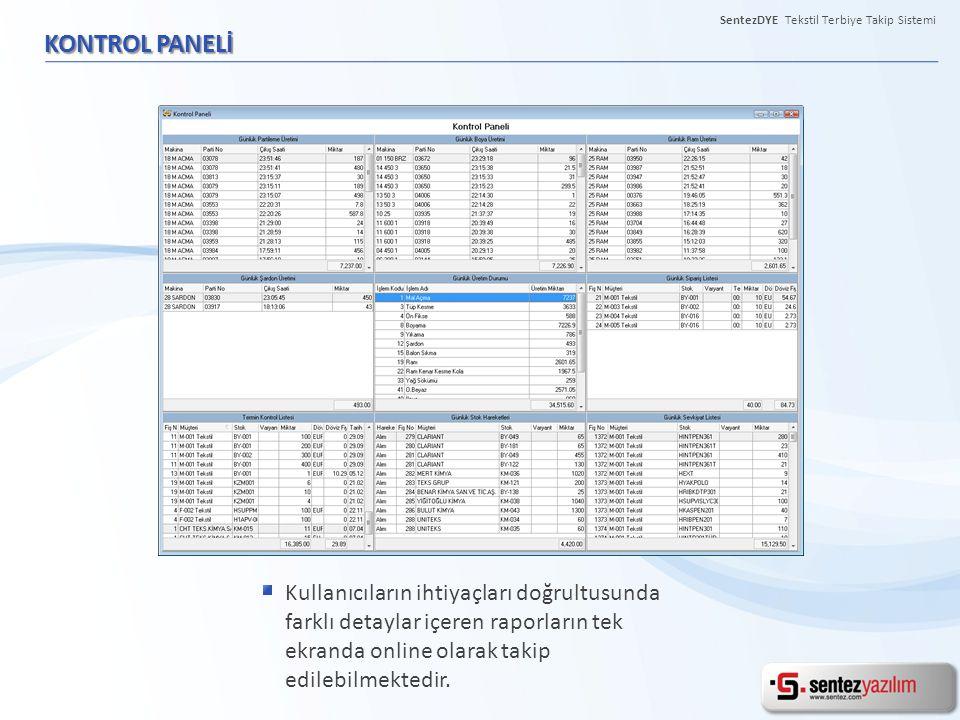 SentezDYE Tekstil Terbiye Takip Sistemi KONTROL PANELİ Kullanıcıların ihtiyaçları doğrultusunda farklı detaylar içeren raporların tek ekranda online o