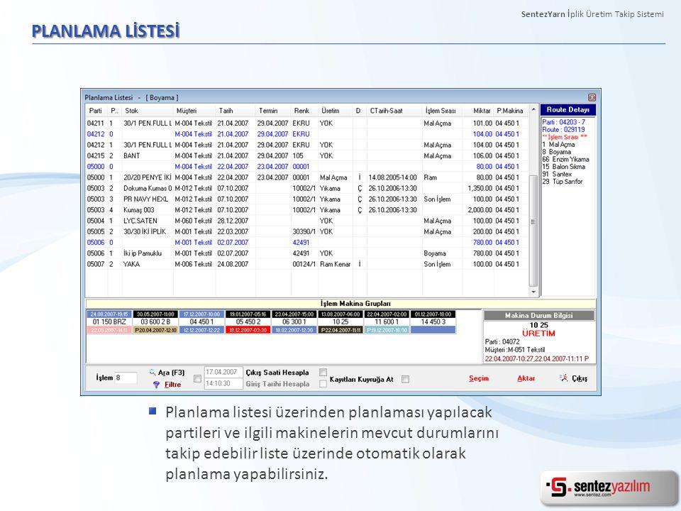 PLANLAMA LİSTESİ Planlama listesi üzerinden planlaması yapılacak partileri ve ilgili makinelerin mevcut durumlarını takip edebilir liste üzerinde otom