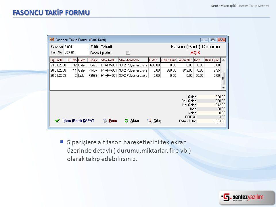 FASONCU TAKİP FORMU Siparişlere ait fason hareketlerini tek ekran üzerinde detaylı ( durumu,miktarlar, fire vb.) olarak takip edebilirsiniz. SentezYar