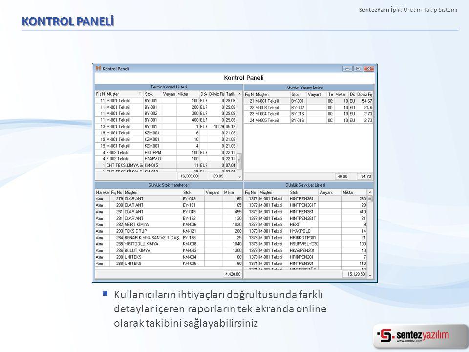 KONTROL PANELİ Kullanıcıların ihtiyaçları doğrultusunda farklı detaylar içeren raporların tek ekranda online olarak takibini sağlayabilirsiniz. Sentez