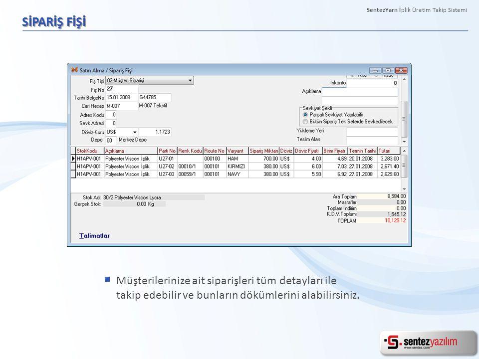PARTİ HAREKETLERİ KONTROL FORMU Tek ekran üzerinde açık/kapalı tüm iş emirlerini ve bunlara ait detaylı bilgileri takip edebilirsiniz.