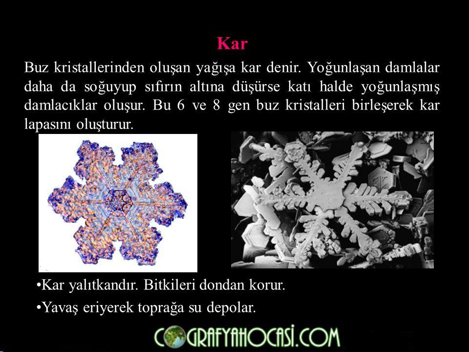 Kar Buz kristallerinden oluşan yağışa kar denir.