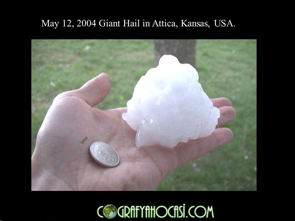 May 12, 2004 Giant Hail in Attica, Kansas, USA.