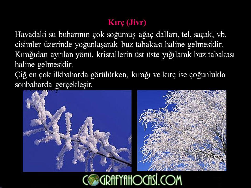 Kırç (Jivr) Havadaki su buharının çok soğumuş ağaç dalları, tel, saçak, vb.