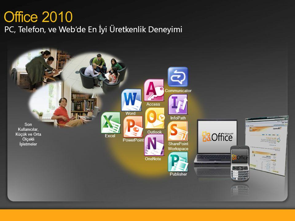 PC, Telefon, ve Web'de En İyi Üretkenlik Deneyimi Word Excel PowerPoint Outlook Access OneNote SharePoint Workspace Publisher InfoPath Communicator So
