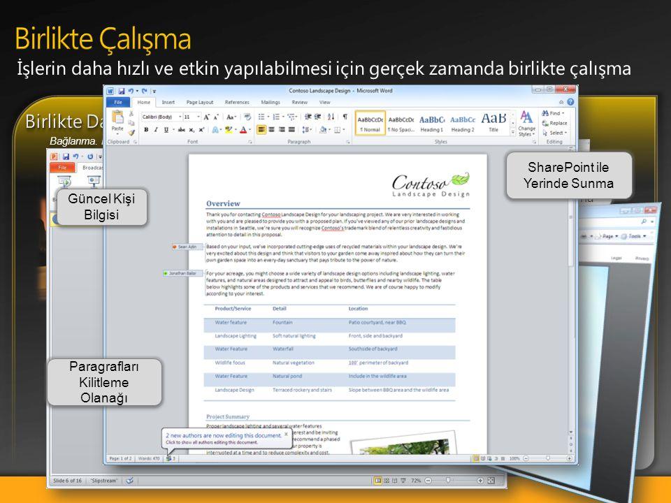 Word ve OneNote Birlikte Yazma ile gerçek zamanlı olarak birlikte çalışma Outlook'taki görüşme görünümü ile e-posta üzerinde kontrol sağlama Powerpoin